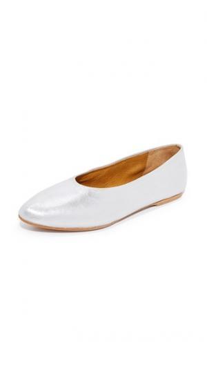 Металлизированные балетки Pril Coclico Shoes. Цвет: голубой