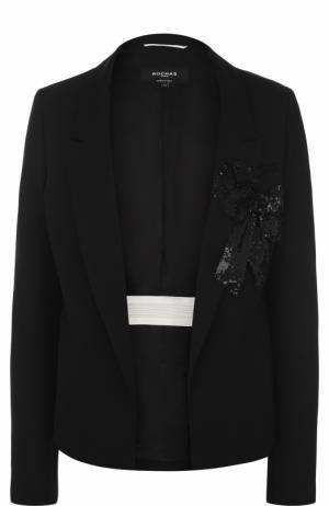 Приталенный шерстяной жакет с вышивкой Rochas. Цвет: черный