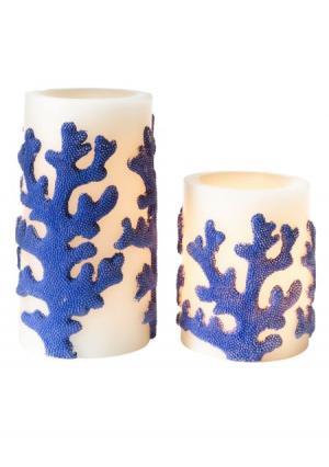 Светильник-свеча, 2 штуки Heine Home. Цвет: молочно-белый/синий
