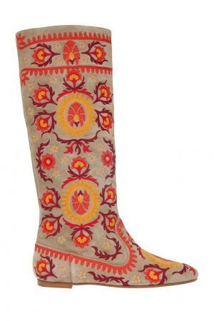 Замшевые сапоги Suzani Boot Flat Aquazzura. Цвет: серый, оранжевый, желтый