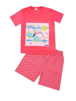 Комплект: футболка, шорты Sladikmladik. Цвет: персиковый
