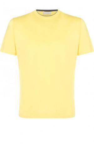 Хлопковая футболка с круглым вырезом Cortigiani. Цвет: желтый