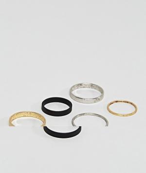 ASOS Набор колец на фаланги пальцев. Цвет: фиолетовый