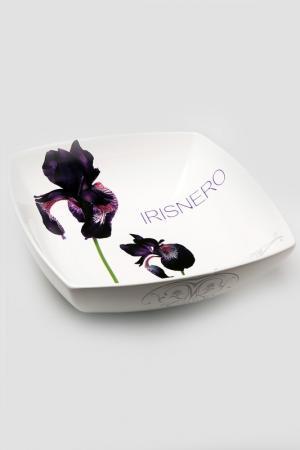 Салатница Черный ирис Ceramiche Viva. Цвет: белый с рисунком