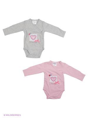Боди детское трикотажное для девочек, 2 шт. в комплекте PlayToday. Цвет: розовый