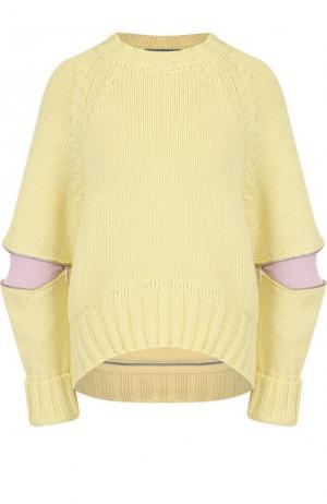 Шерстяной свитер свободного кроя с круглым вырезом Alexander McQueen. Цвет: желтый