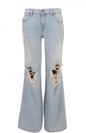 Расклешенные широкие джинсы с потертостями Denim X Alexander Wang. Цвет: голубой
