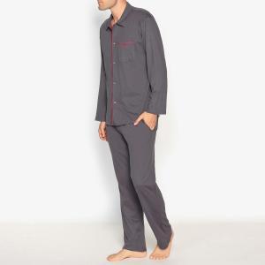 Пижама длинная с брюками из хлопкового джерси ATHENA. Цвет: антрацит/бордовый