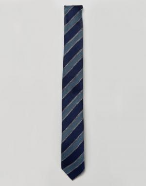 Jack & Jones Узкий галстук с полосками. Цвет: темно-синий