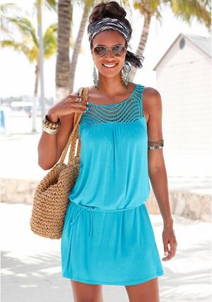 Пляжное платье. Цвет: бирюзовый, дымчато-синий, ярко-розовый