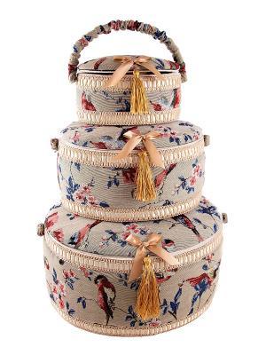 Набор шкатулок для рукоделия из 3-х шт. Русские подарки. Цвет: синий, бежевый, золотистый