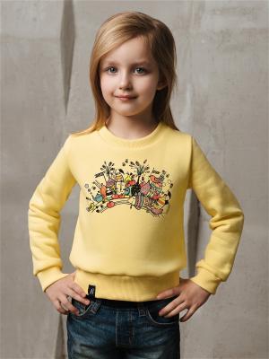 Свитшот на девочек Радуга. Family look Barmariska. Цвет: светло-желтый