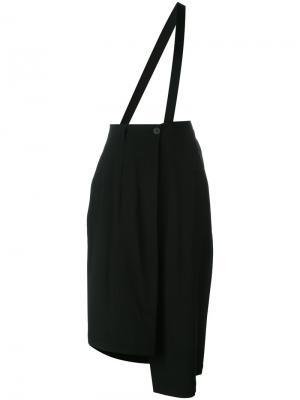 Асимметричные укороченные брюки Isabel Benenato. Цвет: чёрный