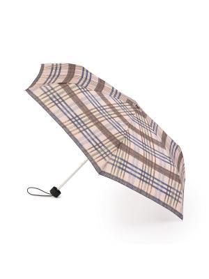 Зонт женский механика Henry Backer Серая клетка. Цвет: бежевый