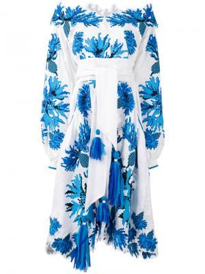 Вышитое платье с открытыми плечами Yuliya Magdych. Цвет: белый