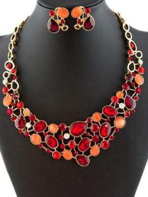 Комплект: колье и серьги Miss Bijou. Цвет: малиновый, светло-коралловый, красный, оранжевый, золотистый, белый