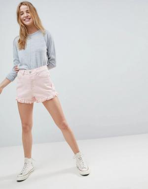 ASOS Розовые выбеленные джинсовые шорты с оборками DESIGN. Цвет: розовый