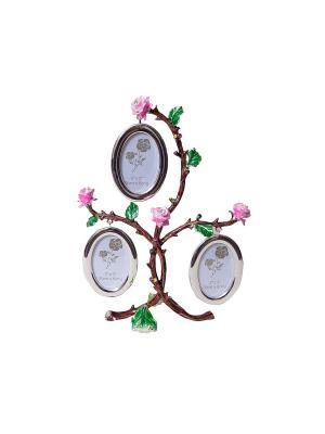 Фоторамка Дерево 3 фото 5х8см PLATINUM quality. Цвет: серебристый, розовый, золотистый, голубой