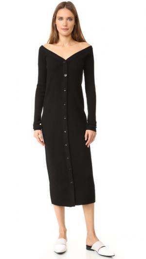 Двустороннее рубчатое платье-кардиган из мериносовой шерсти Tibi. Цвет: голубой