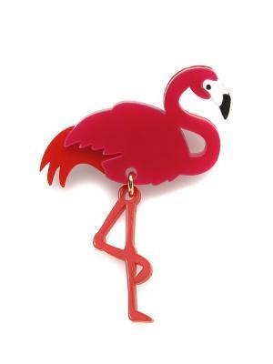 Брошь Фламинго НечегоНадеть. Цвет: красный, белый, фуксия