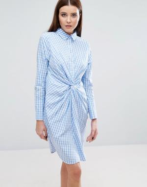 Lavish Alice Платье-рубашка в клетку с перекрученным дизайном спереди. Цвет: мульти