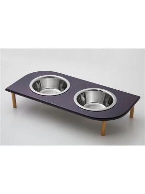 Подставка для кормления животных (дерево) 2*480мл , размеры: 395*200*90мм. Doggy Style. Цвет: черный