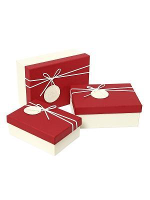 Коробка картонная, набор из 3-х прямоугольных,  17.5х12.5х6.5, 20х14х8, 22.5х16х9,5 см. VELD-CO. Цвет: красный