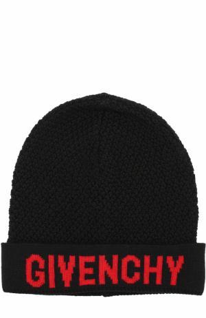 Вязаная шапка из шерсти с логотипом бренда Givenchy. Цвет: черный