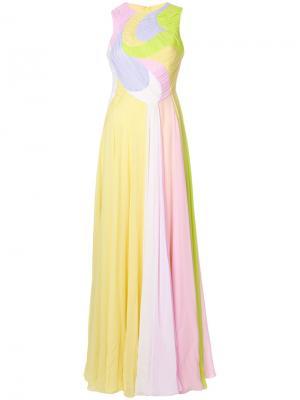 Длинное платье дизайна колор-блок Emilio Pucci. Цвет: жёлтый и оранжевый