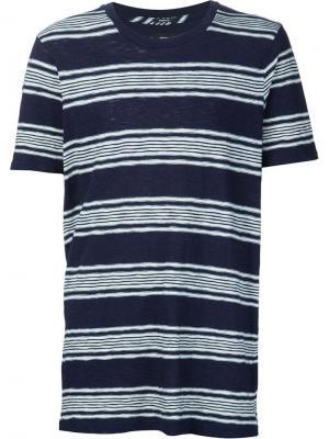 Трикотажная футболка в полоску Denham. Цвет: синий