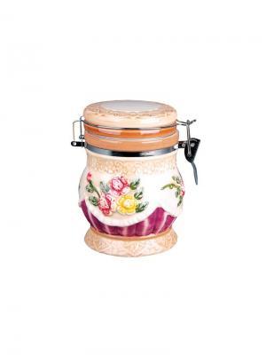 Банка для сыпучих продуктов 650 мл с клипсой  Романтика Коралл. Цвет: розовый