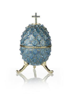 Шкатулка яйцо на подставке Holy Land Collections. Цвет: голубой