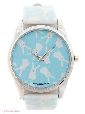 Часы Зайки на голубом Mitya Veselkov. Цвет: голубой, белый