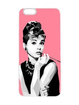 Чехол для iPhone 6 Одри с мундштуком Chocopony. Цвет: черный, белый, лиловый