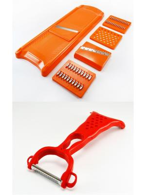 Овощерезка, 5 нержавеющих ножей оранжевая и нож для чистки овощей с 2-мя лезвиями Радужки. Цвет: оранжевый