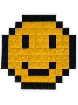 Наклейка Pixel Smiley Anya Hindmarch. Цвет: жёлтый и оранжевый