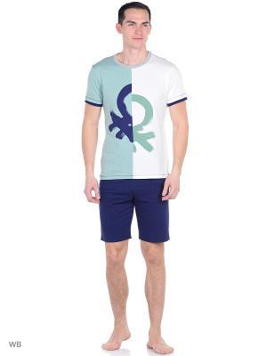 Пижама United Colors of Benetton. Цвет: белый, зеленый, темно-синий