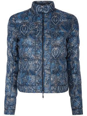 Куртка Oodji. Цвет: синий, бежевый