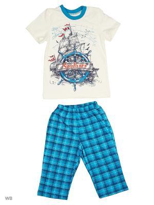 Пижамы КВК. Цвет: кремовый, бирюзовый