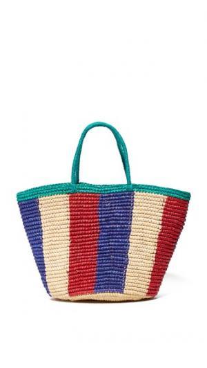 Объемная сумка с короткими ручками из трехцветной ткани Sensi Studio