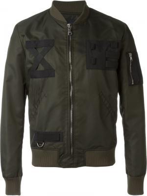Куртка-бомбер с контрастными нашивками Letasca. Цвет: зелёный
