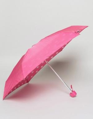 Lulu Guinness Компактный зонт с принтом губ на внутренней стороне. Цвет: черный