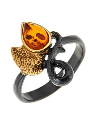 Кольцо Балтийское золото. Цвет: черный, желтый, оранжевый