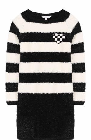 Платье в полоску с металлизированной отделкой и значком Marc Jacobs. Цвет: черно-белый