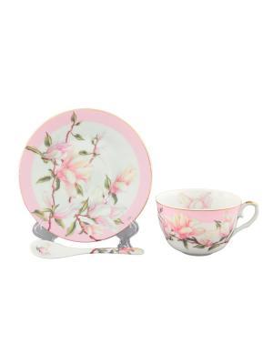 Чайная пара Орхидея на розовом Elan Gallery. Цвет: белый, розовый