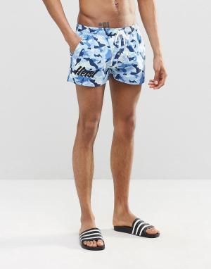 Heist Короткие шорты для плавания с камуфляжным принтом. Цвет: синий