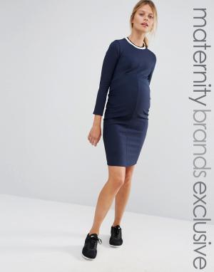 Bluebelle Maternity Облегающее платье в рубчик для беременных. Цвет: темно-синий
