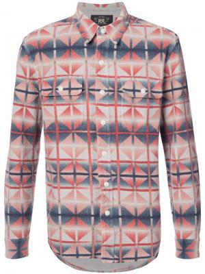 Рубашка с геометрическим узором Rrl. Цвет: красный