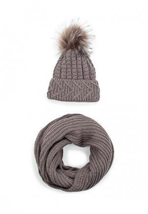 Комплект снуд и шапка Fete. Цвет: коричневый