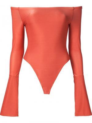 Боди с открытыми плечами и расклешенными рукавами Alix. Цвет: жёлтый и оранжевый